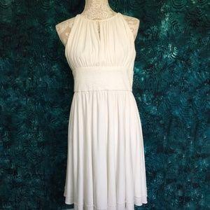 Davids Bridal // White Beaded Trapeze Mini Dress 8